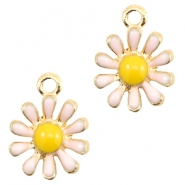 Basic Quality metal charms daisy Gold-Light Pink