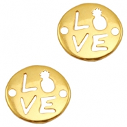"DQ European metal charms connector ""LOVE"" Gold (nickel free)"