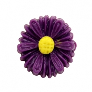 Daisy flower beads 13mm Dark Purple