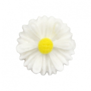 Daisy flower beads 13mm White