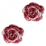 Rose beads 6mm Deep Red-Silver Coating