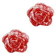 Rose beads 6mm Red-Silver Coating