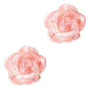 Rose beads 6mm Salmon Rose-Silver Coating