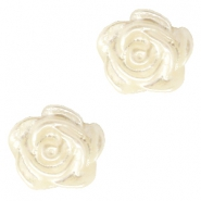 Rose beads 6mm Pastel Beige-Silver Coating