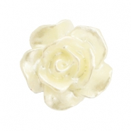 Rose beads 10mm White-Ivory Cream Pearl Shine