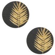 Wooden cabochon fern 12mm Black