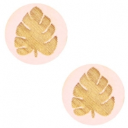 Wooden cabochon leaf 12mm Light Pink