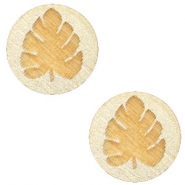 Wooden cabochon leaf 12mm Champagne Metallic