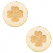 Wooden cabochon clover 12mm White Wood (natural wood colour)