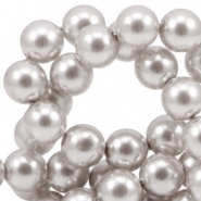 Glass pearls 6mm Silver grey pearl shine