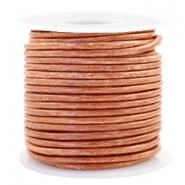 Benefit package DQ leather round 3 mm Vintage Copper Brown Metallic