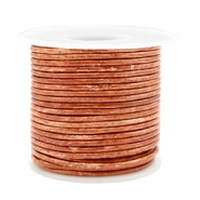 Benefit package DQ leather round 2 mm Vintage Copper Brown Metallic