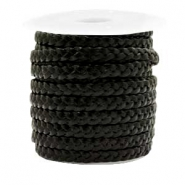 Benefit package Flat braided 5 mm DQ leather Black Metallic