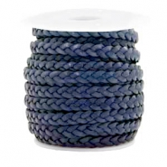 Benefit package Flat braided 5 mm DQ leather Dark Blue