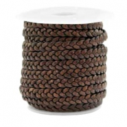 Benefit package Flat braided 5 mm DQ leather Vintage Chocolate Brown