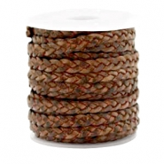 Benefit package Flat braided 5 mm DQ leather Red Brown-Vintage Finish