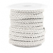 Benefit package Flat braided 5 mm DQ leather Silver White