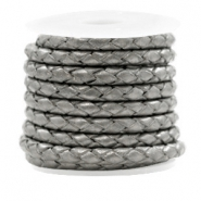 DQ round braided leather 4 strings 4mm Dark Grey Metallic