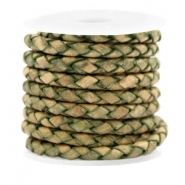 DQ round braided leather 4 strings 4mm Medium Olive Green-Vintage Finish
