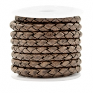 DQ round braided leather 4 strings 4mm Vintage Taupe
