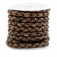 DQ round braided leather 4 strings 4mm Dark Chocolate Brown