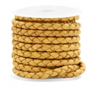 DQ round braided leather 4 strings 4mm Vintage Golden Yellow