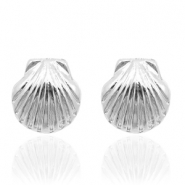 Trendy earrings studs shell Silver