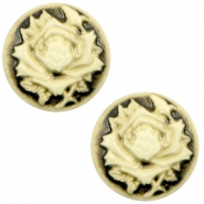 Basic cabochon cameo 12mm rose Black-Antique Gold