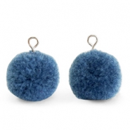 Pompom charms with loop 15mm Dark Glaucous Blue-Silver