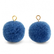 Pompom charms with loop 15mm Glaucous Blue-Gold