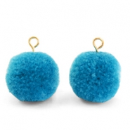 Pompom charms with loop 15mm Light Cerulean Blue-Gold