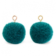 Pompom charms with loop 15mm Green Zircon-Gold