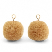 Pompom charms with loop 15mm Hazelnut Brown-Gold