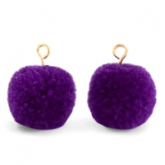 Pompom charms with loop 15mm Indigo Purple-Gold