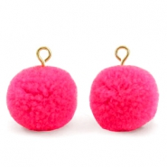 Pompom charms with loop 15mm Hot Neon Pink-Gold