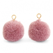Pompom charms with loop 15mm Dark Vintage Pink-Gold