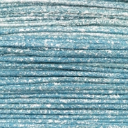 Waxed cord metallic 1.0mm Cool Blue
