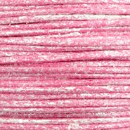 Waxed cord metallic 1.0mm Magenta Pink