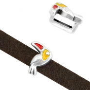 DQ European metal sliders tucan Antique Silver-Yellow Red (nickel free)