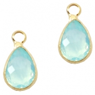 Crystal glass charms drop 12x6mm Light Turquoise Blue Opal-Gold