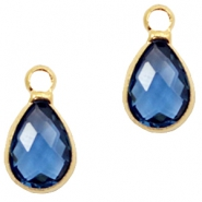 Crystal glass charms drop 12x6mm Aegean Blue crystal-Gold
