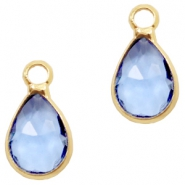 Crystal glass charms drop 12x6mm Sapphire Blue crystal-Gold