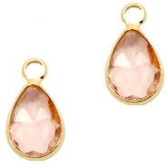 Crystal glass charms drop 12x6mm Vintage Rose crystal-Gold