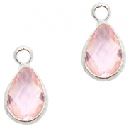 Crystal glass charms drop 12x6mm Light Rose crystal-Silver