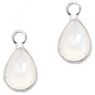 Crystal glass charms drop 12x6mm White Opal-Silver