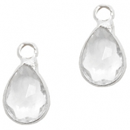 Crystal glass charms drop 12x6mm Crystal-Silver