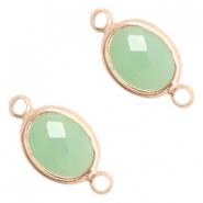 Crystal glass connectors oval 10x9mm Crysolite Green opal-Rose Gold