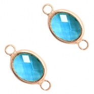 Crystal glass connectors oval 10x9mm Blue Zircon crystal-Rose Gold