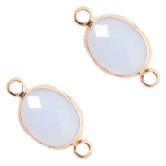 Crystal glass connectors oval 10x9mm Air Blue opal-Rose Gold