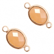 Crystal glass connectors oval 10x9mm Light Peach opal-Rose Gold